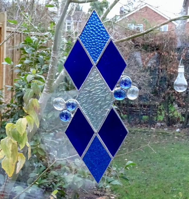 Diamond Stained Glass Suncatcher - Blue