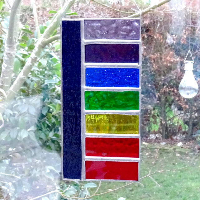 Stained Glass Rainbow Panel Suncatcher