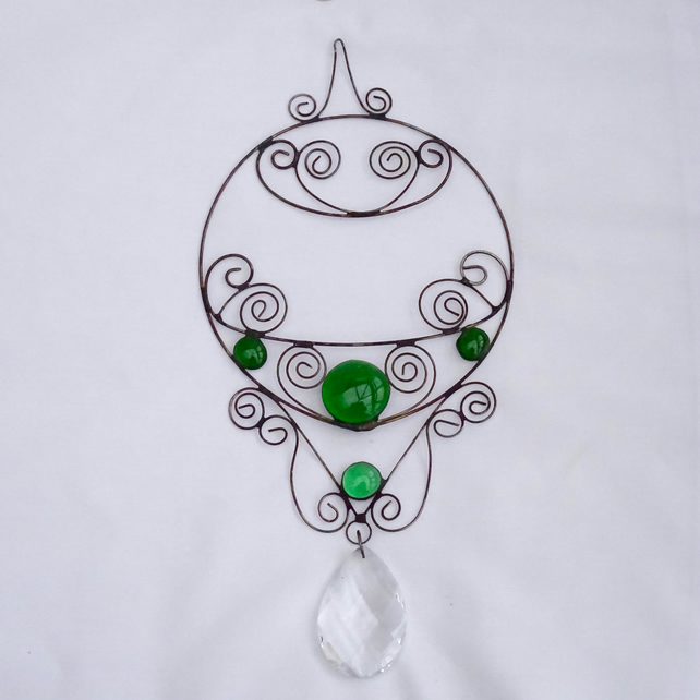 Stained Glass Wire Hanger - Green Suncatcher