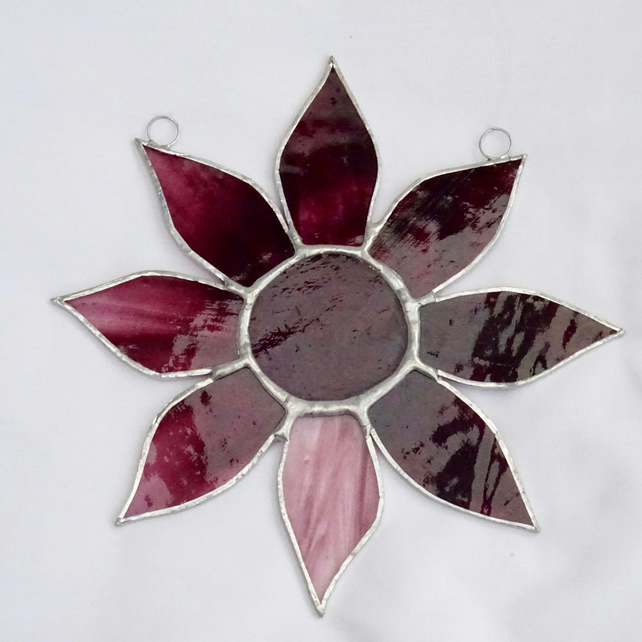 Stained Glass Flower Suncatcher - Pink
