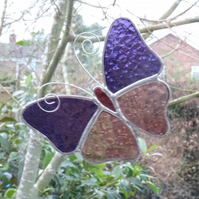 Stained Glass Butterfly Suncatcher - Mauve  and Pink