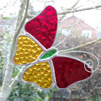 Stained Glass Butterfly Suncatcher - Red and Amber