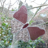 Stained Glass Butterfly Suncatcher - Pink