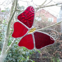 Stained Glass Butterfly Suncatcher - Red
