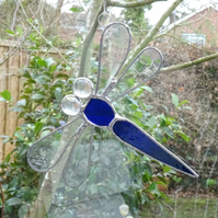Stained Glass Dragonfly Suncatcher - Blue