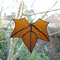 Stained Glass Leaf Suncatcher - Brown