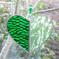 Stained Glass Heart Suncatcher - Green
