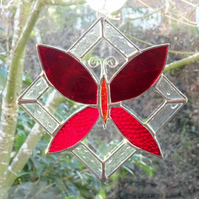 SALE - Stained Glass Butterfly Suncatcher - Red