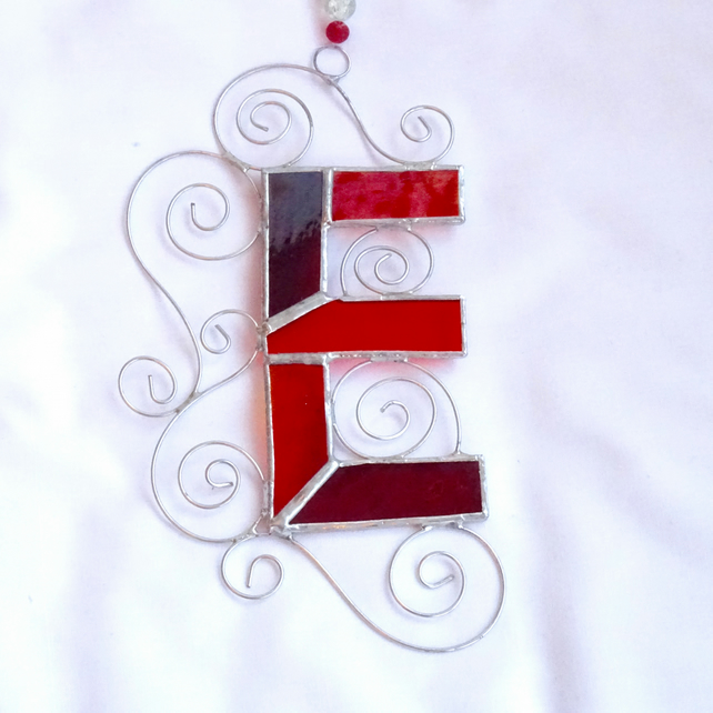 Stained Glass Letter E Suncatcher - Red and Orange