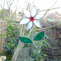 Stained Glass Flower Suncatcher - Handmade Hanging Decoration White