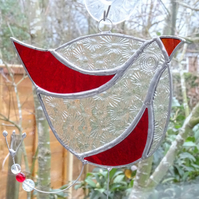 Stained Glass Funky Bird Suncatcher  - Red and Clear
