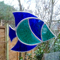 Stained Glass Fish Suncatcher - Blue and Teal