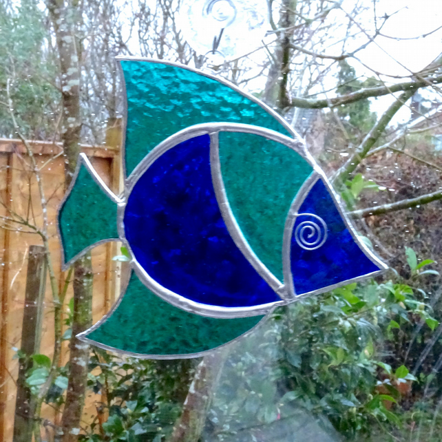 Stained Glass Fish Suncatcher Teal And Blue Folksy