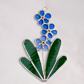 Stained Glass Forget Me Not Suncatcher - TO ORDER - Handmade