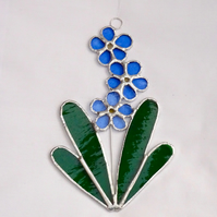 Stained Glass Forget Me Not Suncatcher - TO ORDER
