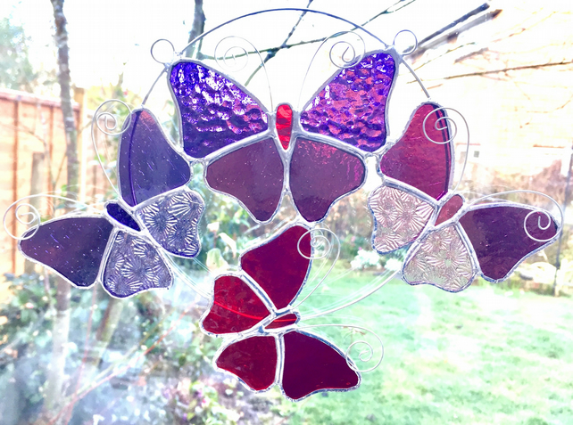 Stained Glass Butterfly Ring - Handmade Hanging Decoration TO ORDER
