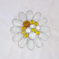Stained Glass Bead Daisy Suncatcher - Handmade Window Hanging Decoration White