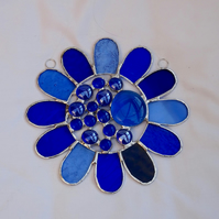 Stained Glass Bead Daisy Suncatcher - Handmade Window Hanging Decoration Blue