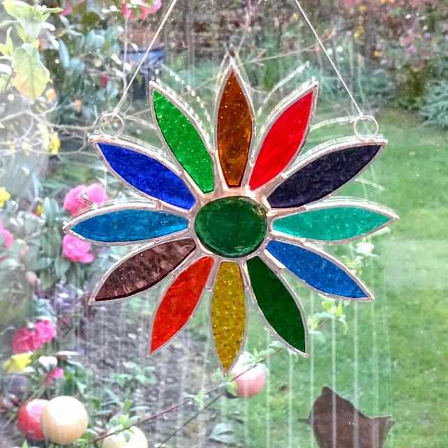 Stained Glass Daisy Suncatcher Handmade Hanging Decoration - Multi Vibrant