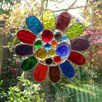 Stained Glass Bead Daisy Suncatcher - Handmade Window Hanging Decoration Multi