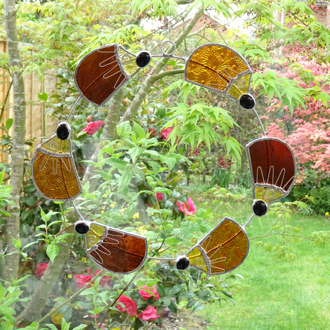 Stained Glass Hedgehog Circle Suncatcher - Handmade Hanging Decoration
