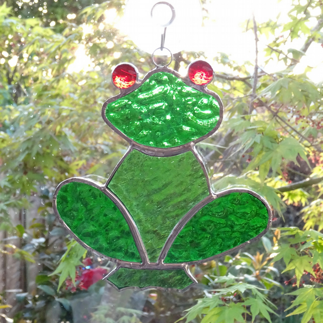 Stained Glass Frog Suncatcher - Handmade Hanging Decoration
