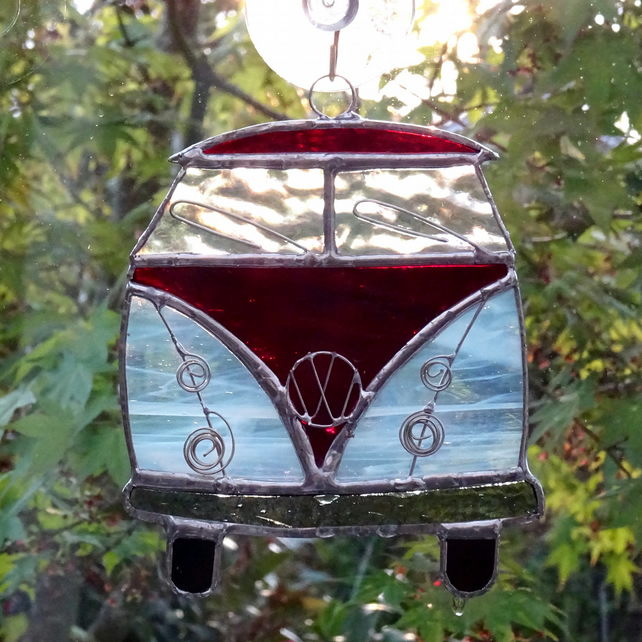 Stained Glass Camper Van Suncatcher - Handmade Hanging Decoration Red and White
