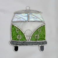 Stained Glass Camper Van Suncatcher - Handmade Hanging Decoration Lime and White