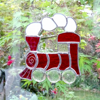 Stained Glass Train Suncatcher - Handmade Hanging Decoration Red