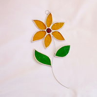 Stained Glass Flower Suncatcher - Handmade Hanging Decoration Amber