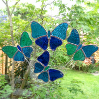 Stained Glass Butterfly Ring - Handmade Hanging Decoration Blue Turquoise Teal