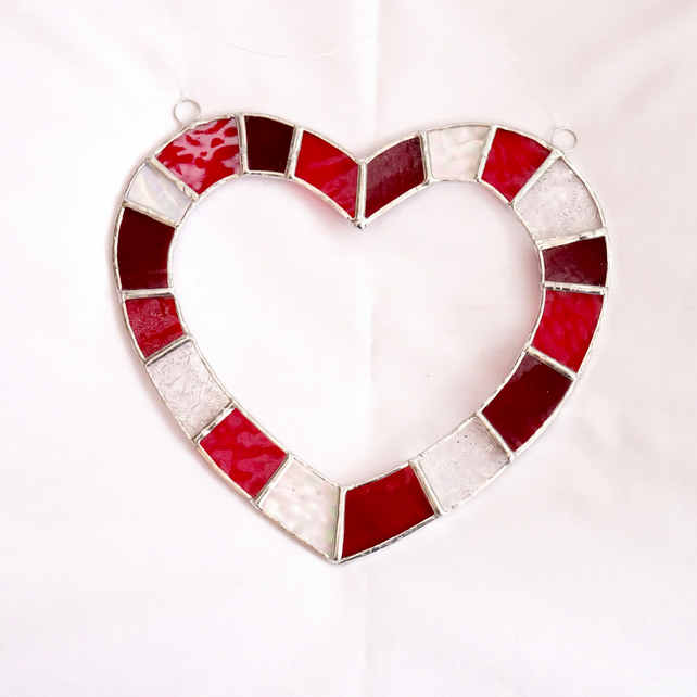 Red and White Heart Stained Glass Suncatcher - Handmade Hanging Decoration