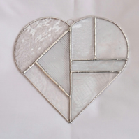 Large Stained Glass Clear Heart - Handmade Hanging Decoration