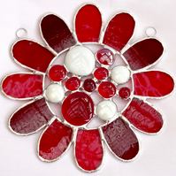 Stained Glass Bead Daisy Suncatcher - Red Handmade Window Hanging Decoration