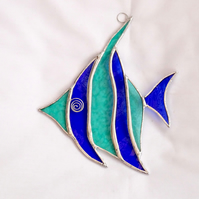 Stained Glass Angel Fish Suncatcher - Handmade Hanging Decoration