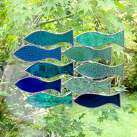Stained Glass Handmade Decoration Shoal of 10 Fish Suncatcher - Blue & Turquoise