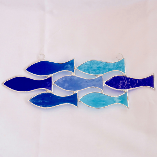 Stained Glass Handmade Hanging Decoration Shoal of 7 Fish Suncatcher
