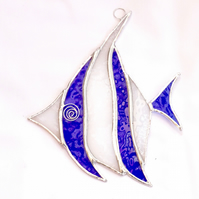 Stained Glass Angel Fish Suncatcher - Handmade Decoration - Blue and White
