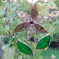 Stained Glass Flower Suncatcher - Handmade Hanging Decoration Pink