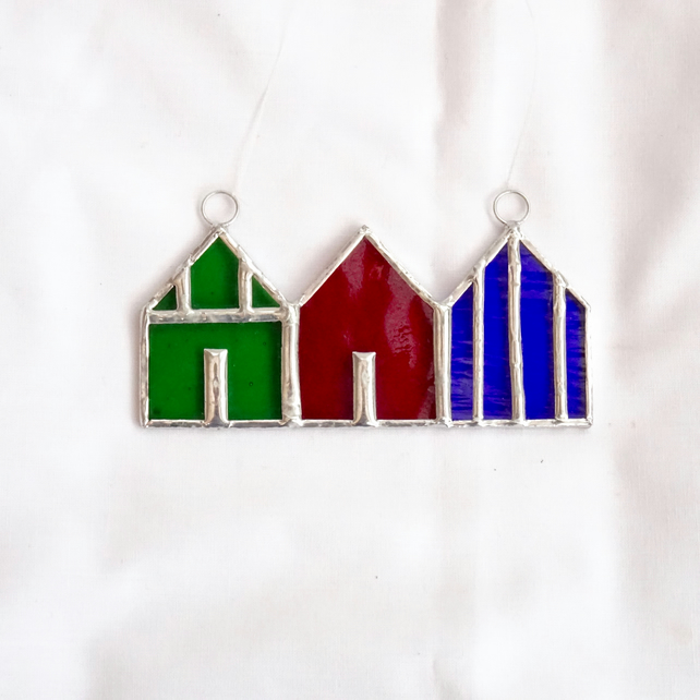 Stained Glass Suncatcher Beach Huts - Handmade Hanging Decoration - Multi
