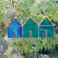 Stained Glass Suncatcher Beach Huts - Hanging Decoration - Turquoise and Teal