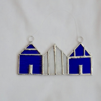 Stained Glass Suncatcher Beach Huts - Hanging Decoration - Blue and White
