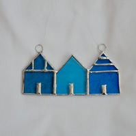 Stained Glass Suncatcher Beach Huts - Handmade decoration - Turquoise