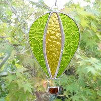 Stained Glass Hot Air Balloon Suncatcher - Handmade Decoration - Lime and Amber