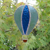 Stained Glass Hot Air Balloon Suncatcher - Handmade Decoration - Blue