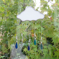 Stained Glass Rain Cloud - Handmade Hanging Window Decoration - Blue