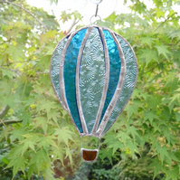 Stained Glass Hot Air Balloon Suncatcher - Handmade Decoration - Blue and Teal