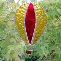 Stained Glass Hot Air Balloon Suncatcher - Handmade Decoration - Red and Amber