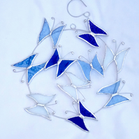Large Butterfly Circle  Suncatcher - Handmade Hanging Decoration Blue and White