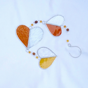 Stained Glass Hearts Suncatcher - Handmade Hanging Decoration - Amber and Clear